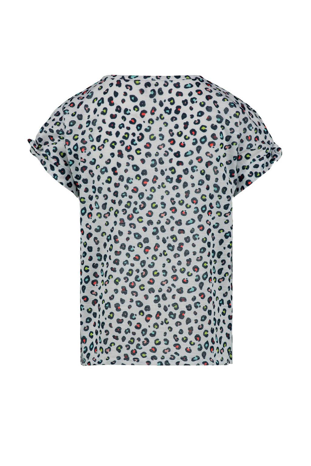 CKS KIDS T-shirt Irene met panterprint lichtblauw/antraciet/rood, Lichtblauw/antraciet/rood