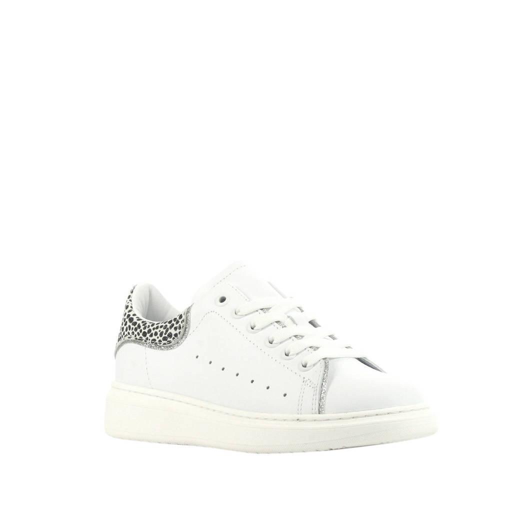 Hip H1219  leren sneakers wit/cheetahprint, Wit