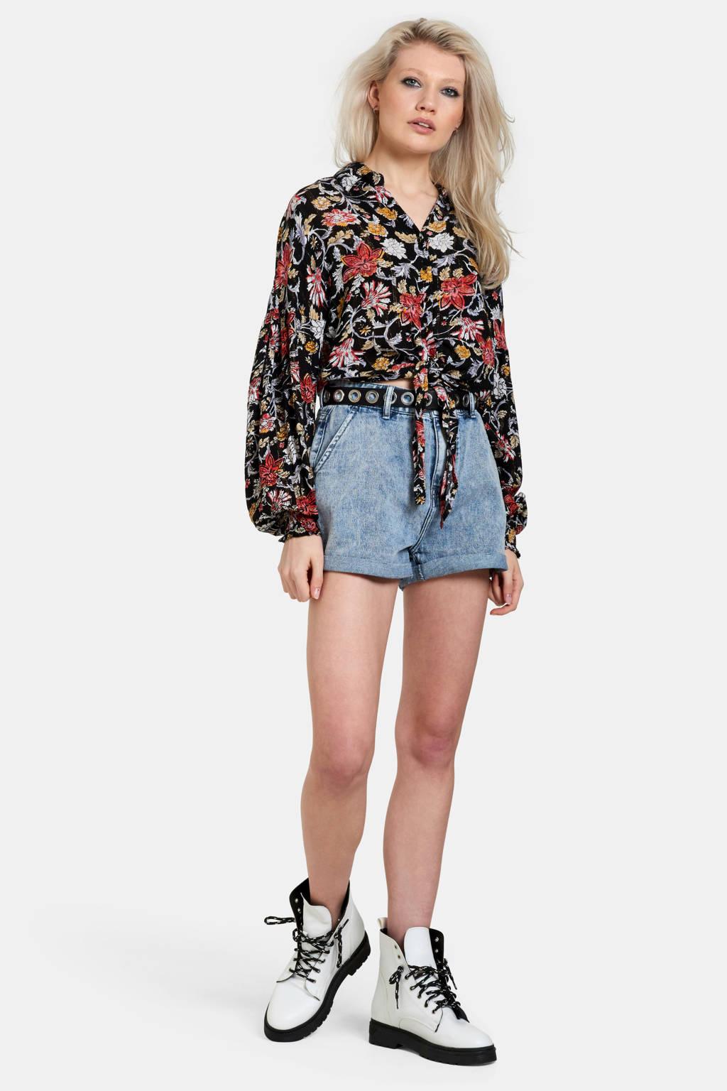 Eksept gebloemde blouse zwart/multi, Zwart/multi