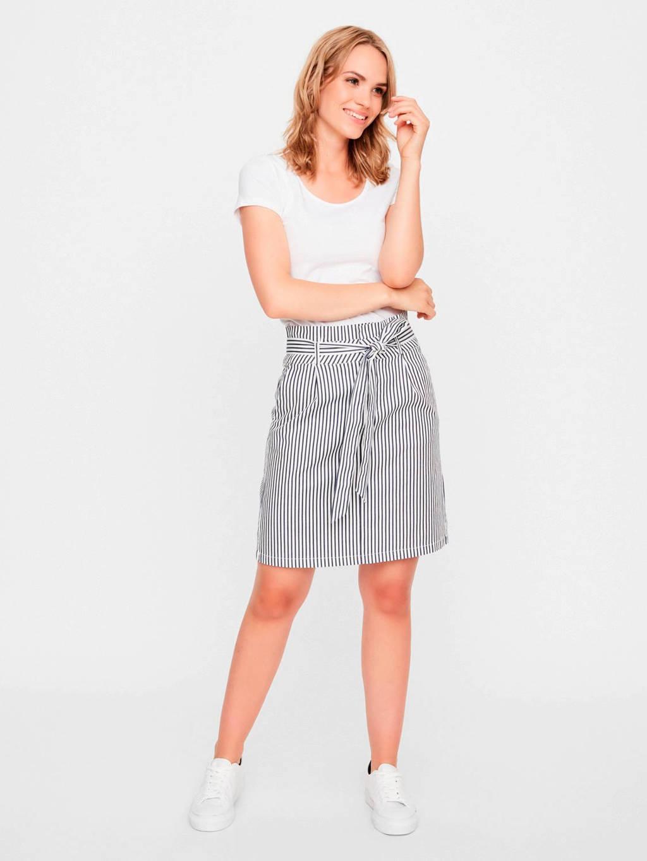 VERO MODA gestreepte rok wit/donkerblauw, Wit/donkerblauw