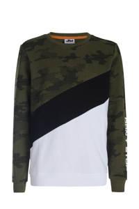 JILL MITCH sweater Bravey met camouflageprint donkergroen/wit, Donkergroen/wit