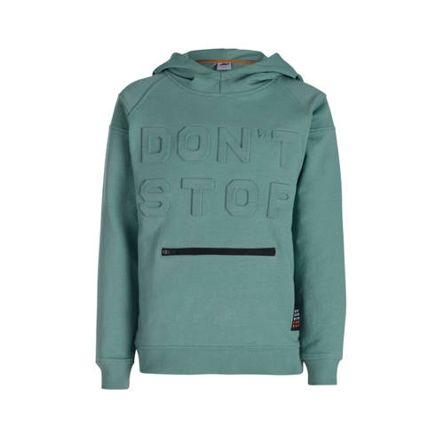 JILL MITCH hoodie Russel met textuur petrol/zwart