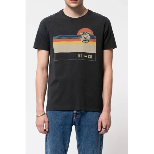 Nudie Jeans T-shirt met printopdruk zwart