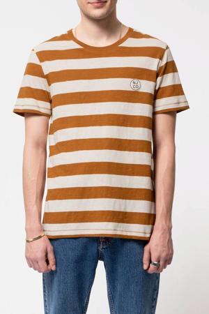 gestreept T-shirt camel/lichtroze