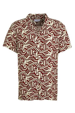 slim fit overhemd met all over print aubergine/lichtgeel