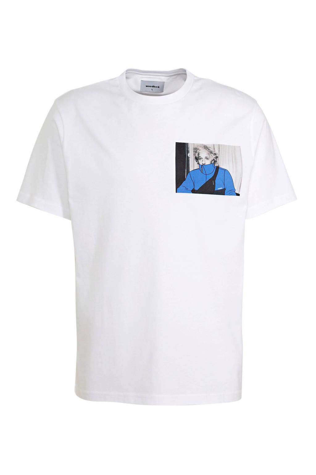 Woodbird T-shirt met printopdruk wit, Wit