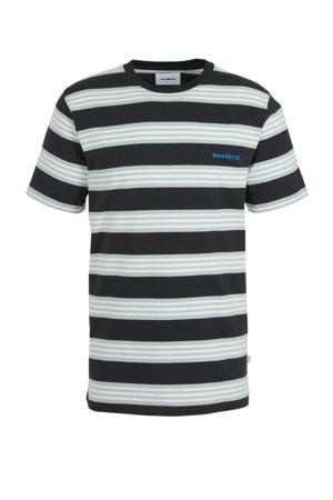 gestreept T-shirt navy/mint/white