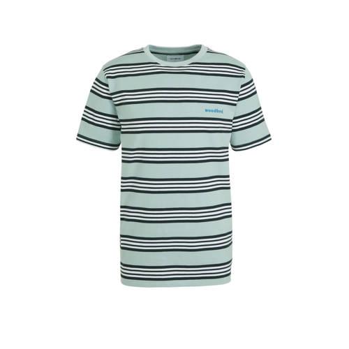 Woodbird gestreept T-shirt mintgroen