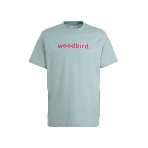 Woodbird T-shirt met logo mintgroen