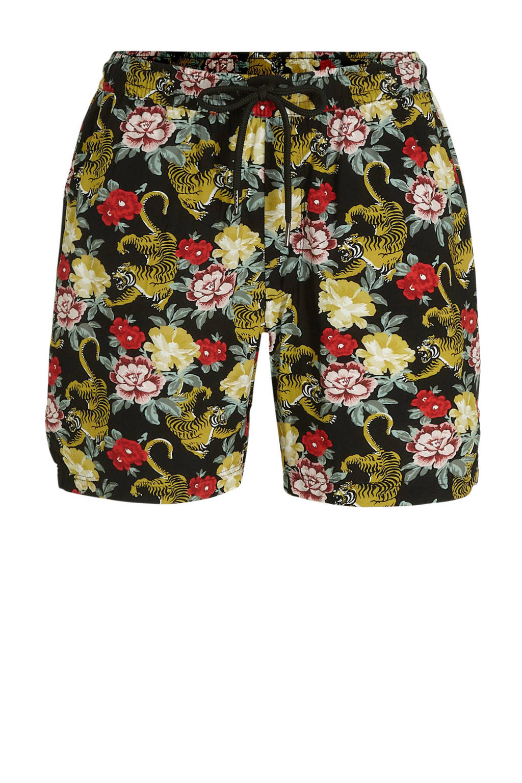 Redefined Rebel regular fit bermuda met all over print zwart, Zwart