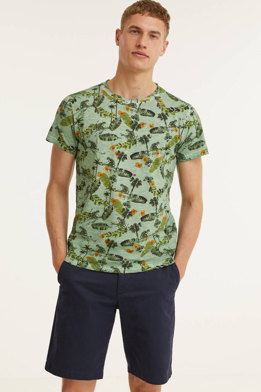 No Excess T-shirt met all over print groen, Groen