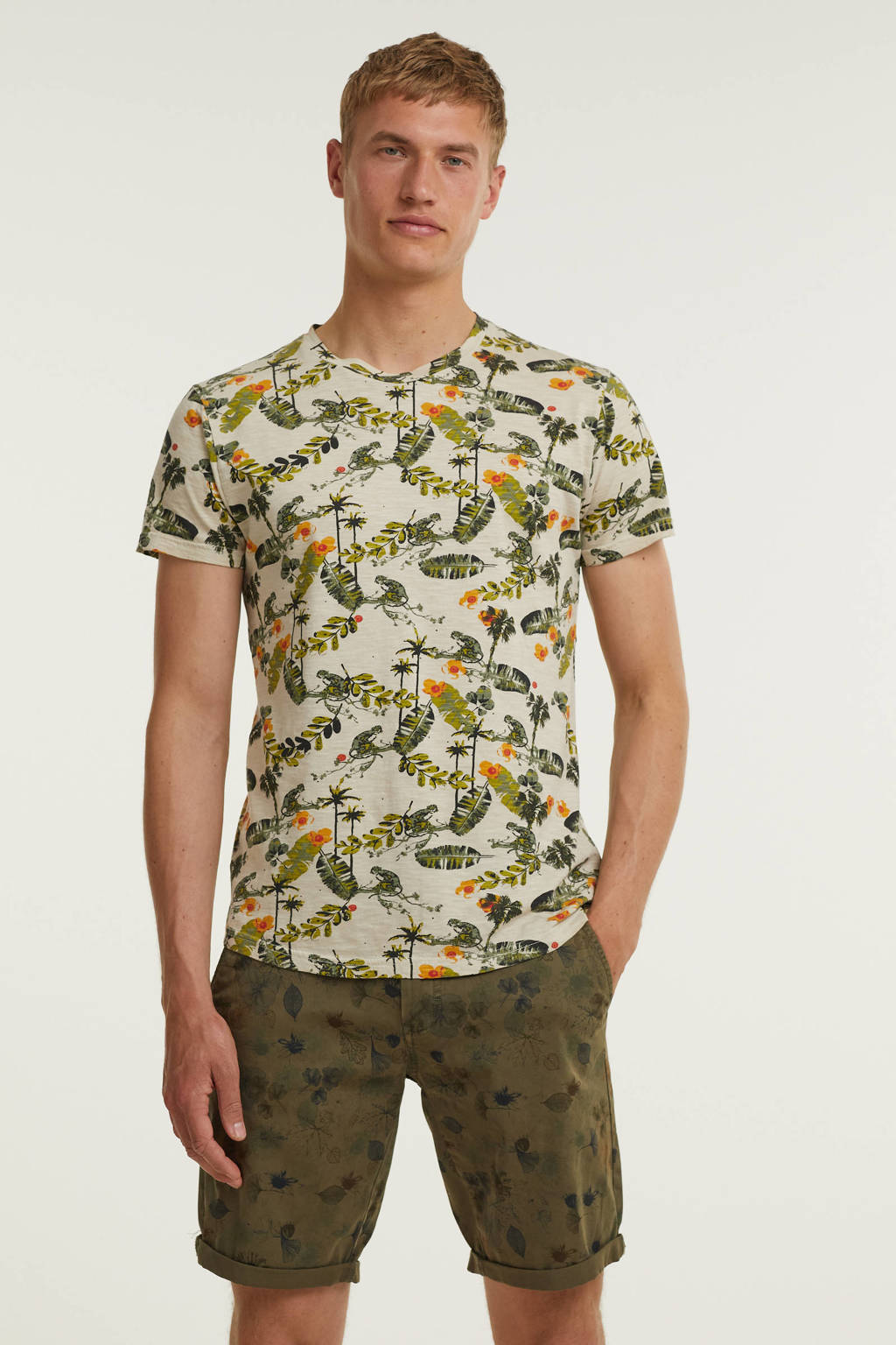 No Excess T-shirt met all over print stone, Stone