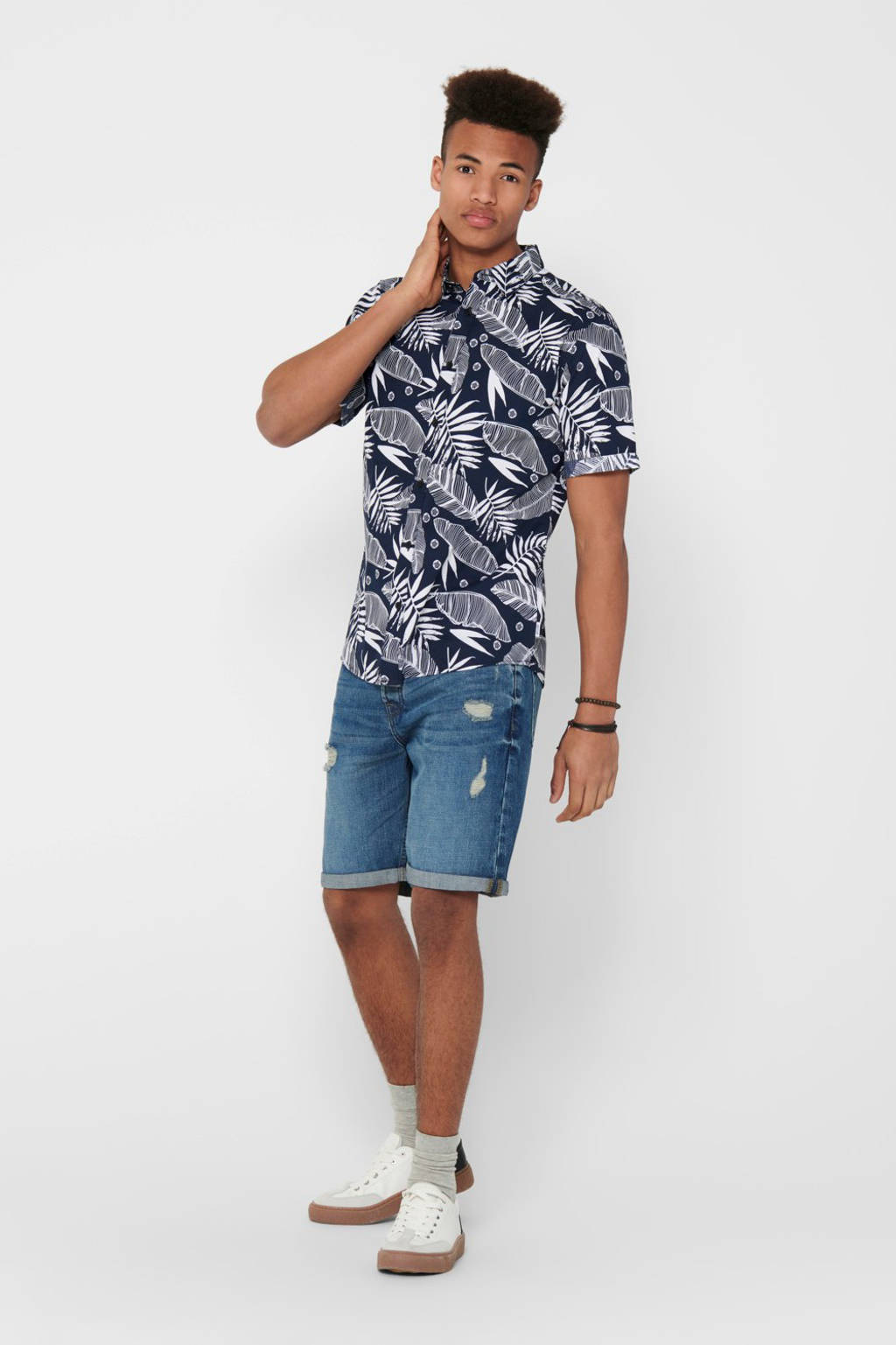 ONLY & SONS slim fit overhemd met bladprint donkerblauw, Donkerblauw