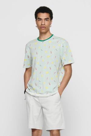 gestreept T-shirt lichtgroen/geel/oranje