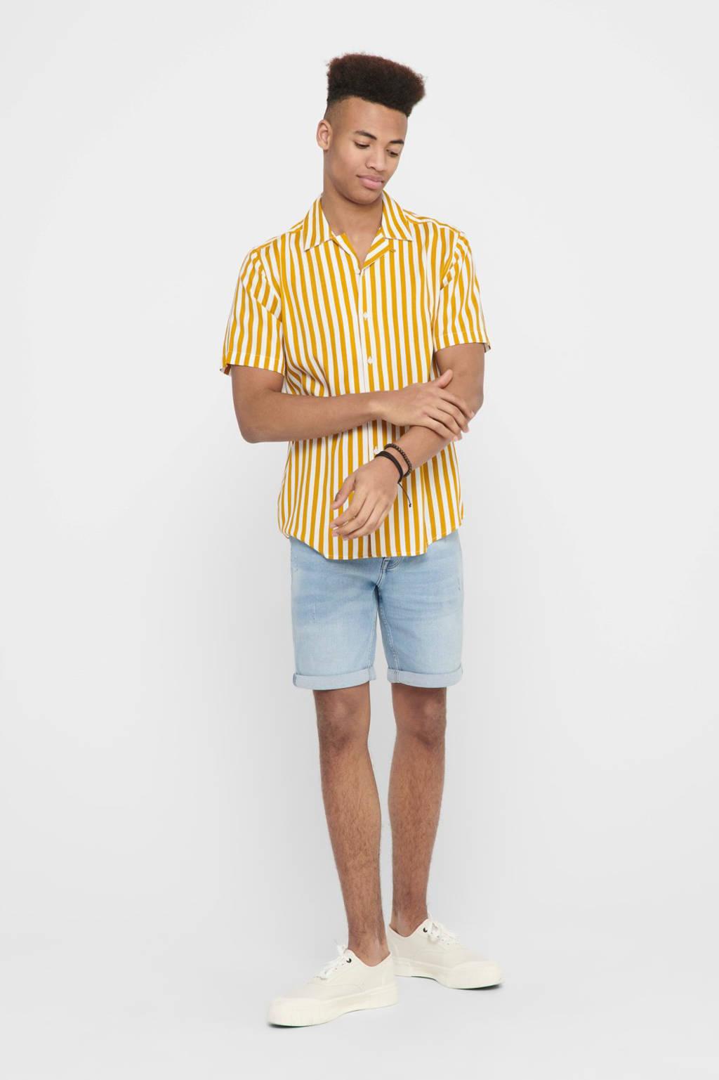 ONLY & SONS gestreept regular fit overhemd geel, Geel