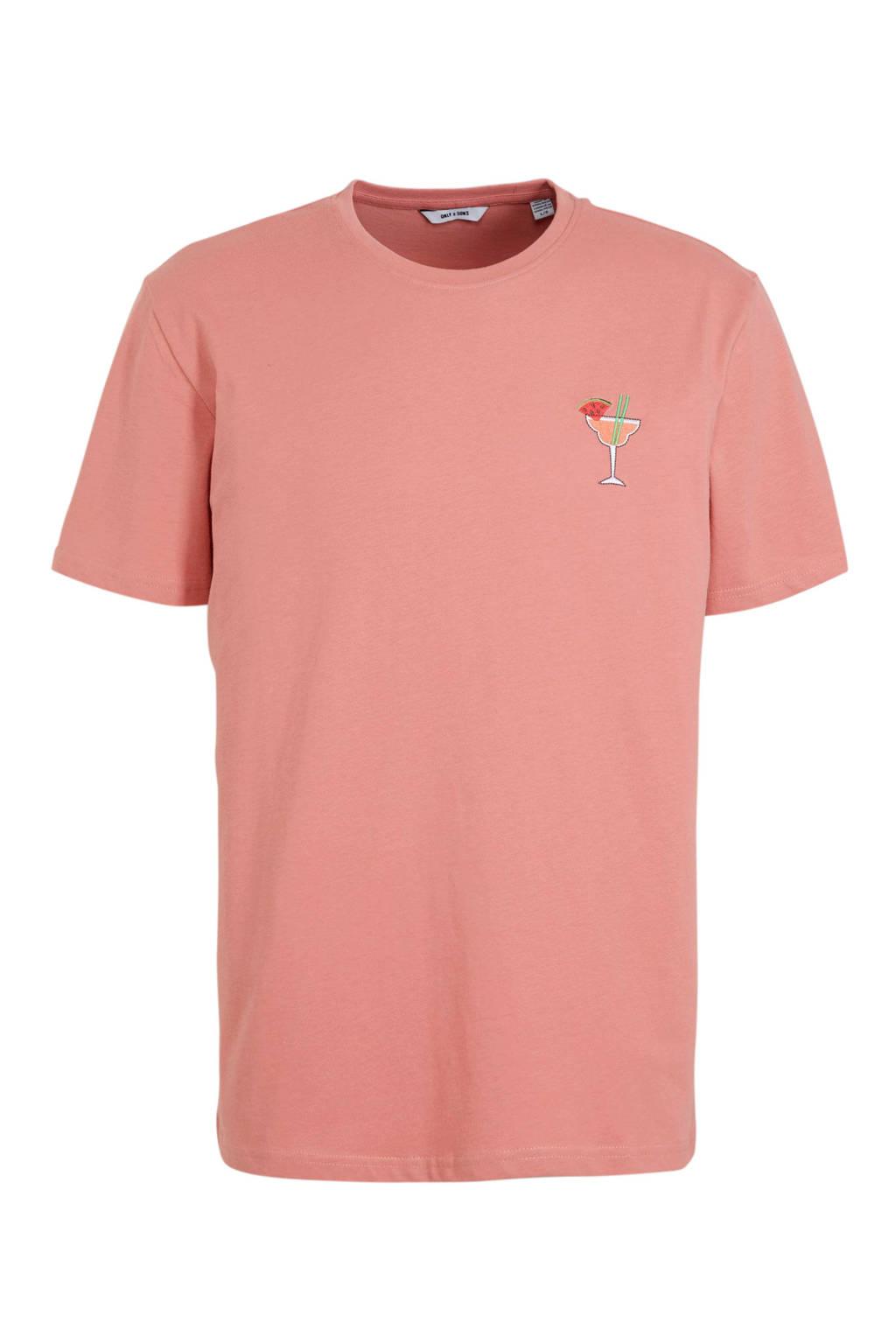 ONLY & SONS T-shirt met printopdruk roze, Roze