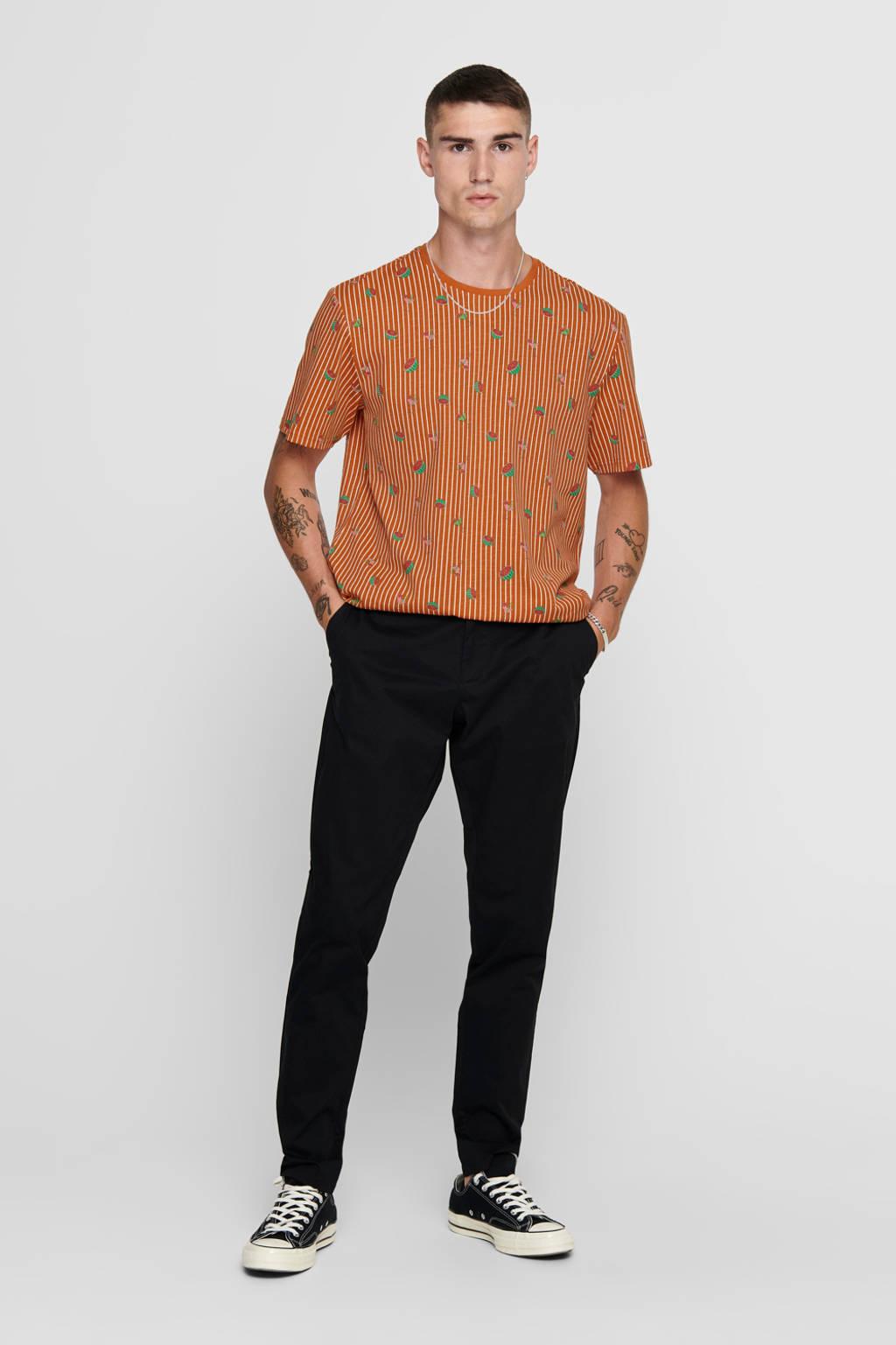 ONLY & SONS gestreept T-shirt oranje/groen/wit, Oranje/groen/wit