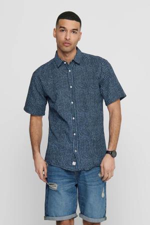 gestreept slim fit overhemd donkerblauw