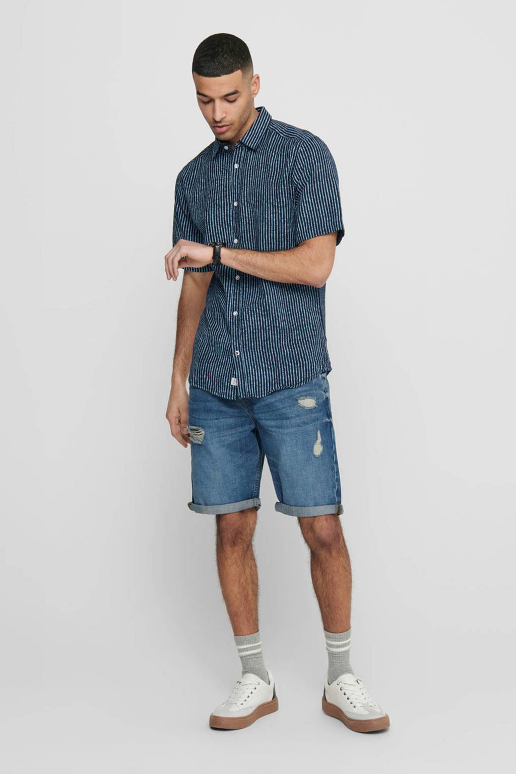 ONLY & SONS gestreept slim fit overhemd donkerblauw, Donkerblauw