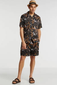 ONLY & SONS regular fit short met bladprint bruin, Bruin