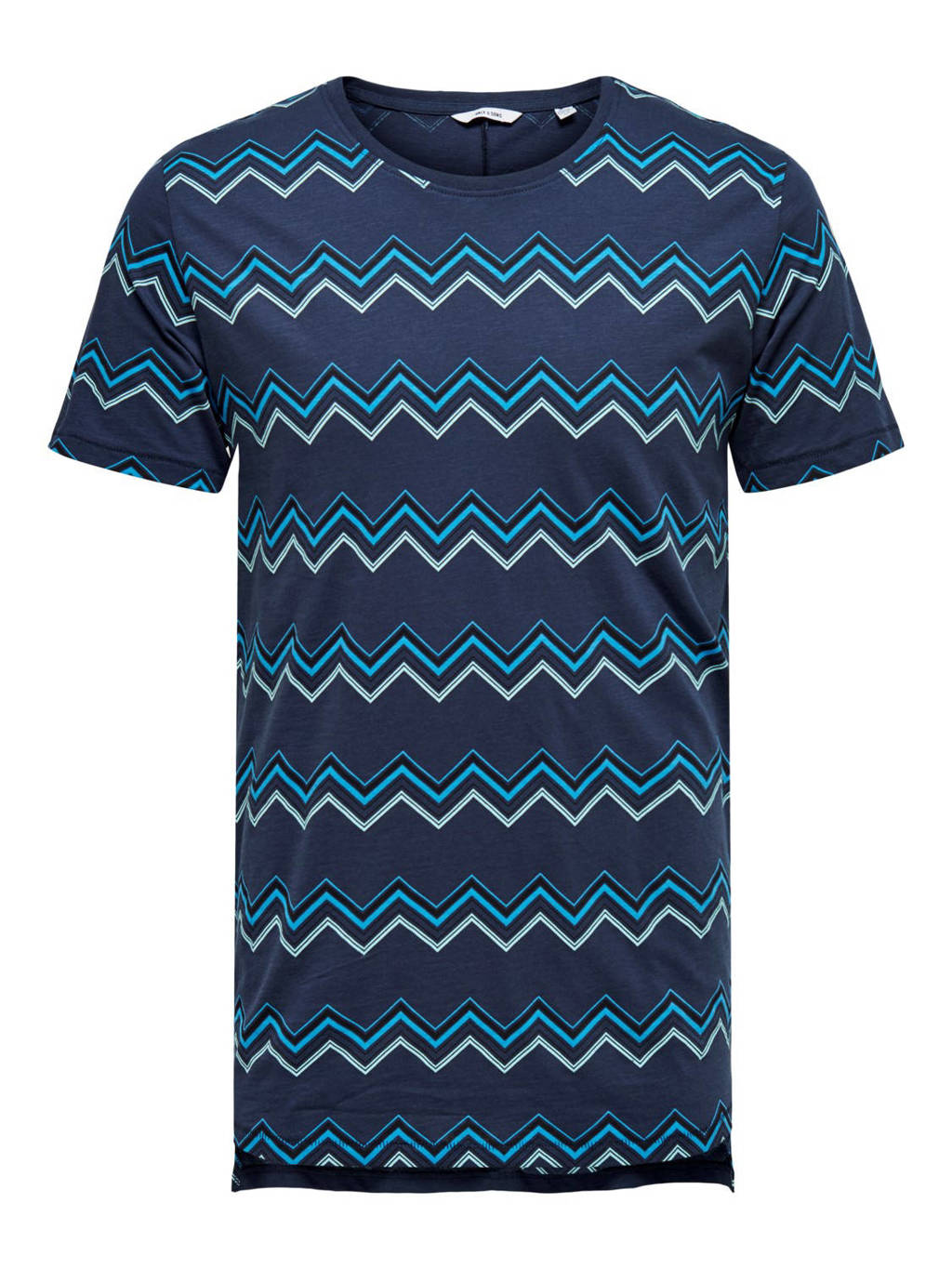 ONLY & SONS T-shirt met all over print blauw, Blauw