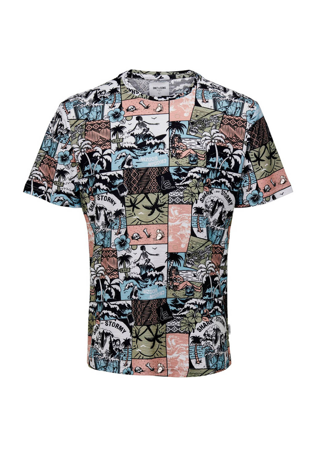 ONLY & SONS T-shirt met all-over print, Bruin