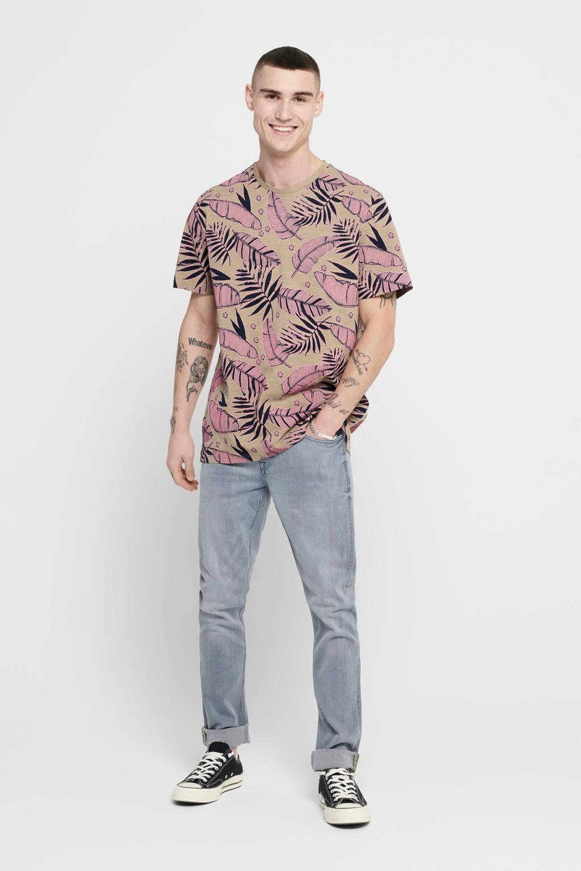 ONLY & SONS T-shirt met bladprint bruin, Bruin