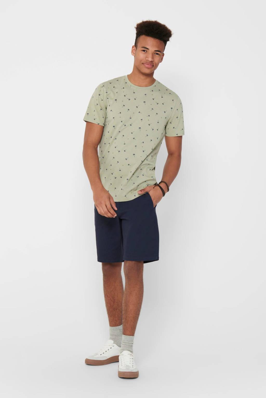 ONLY & SONS T-shirt met all over print lichtgroen, Lichtgroen