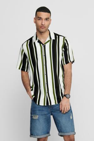 gestreept regular fit overhemd groen