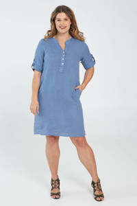 Paprika linnen jurk blauw, Blauw