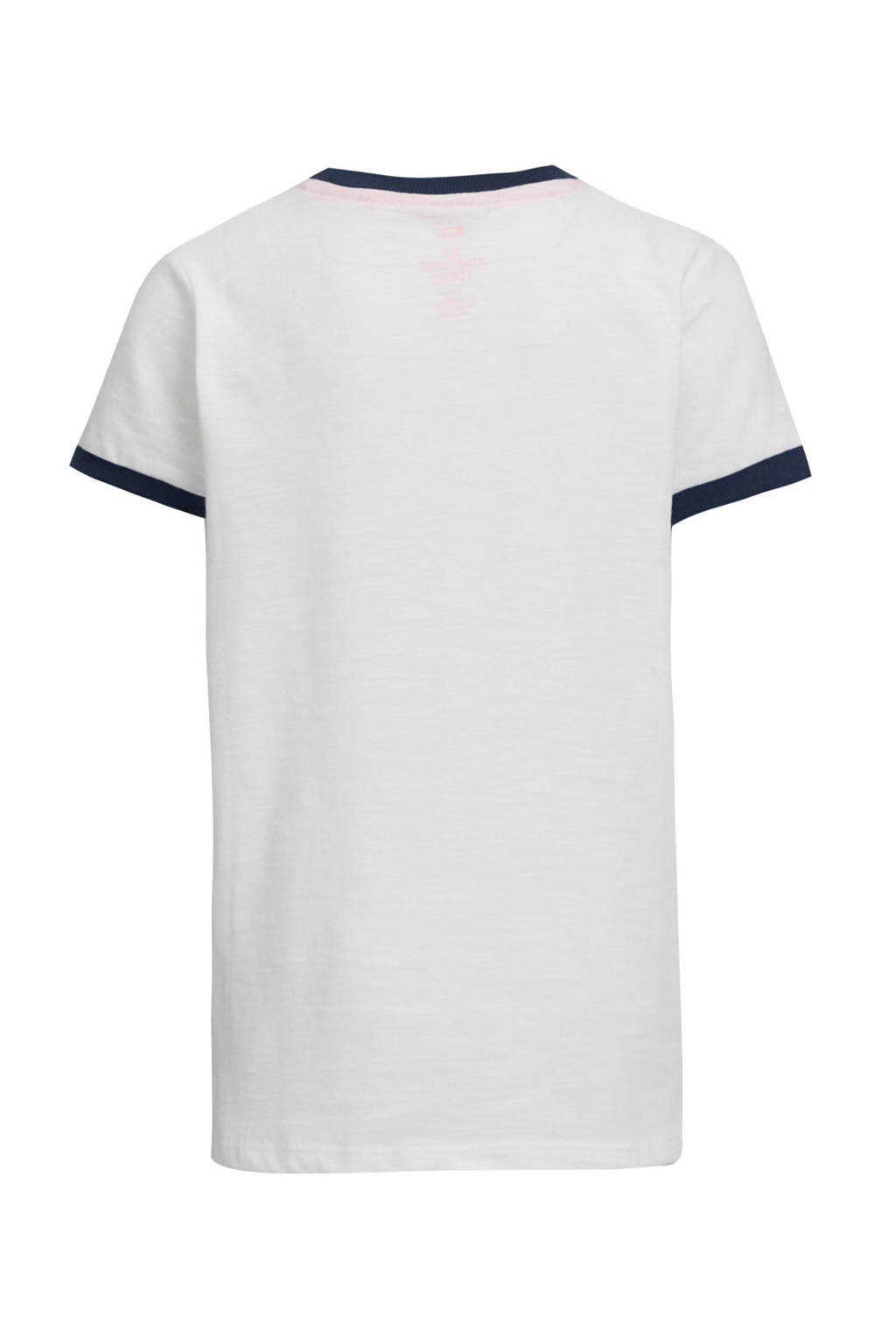 WE Fashion T-shirt met contrastbies en borduursels wit, Wit