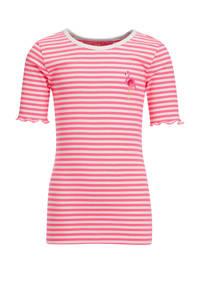 WE Fashion slim fit T-shirt roze/wit, Roze/wit