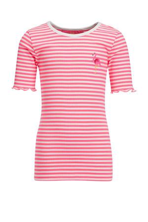 slim fit T-shirt roze/wit