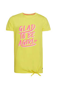 WE Fashion regular fit T-shirt geel/roze/wit, Geel/roze/wit