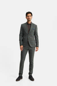 WE Fashion geruit slim fit colbert met wol grijsgroen, Grijsgroen