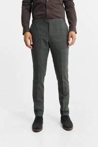 WE Fashion geruite slim fit pantalon met wol deep green, Deep green