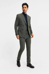 WE Fashion slim fit pantalon met wol graphite, Graphite