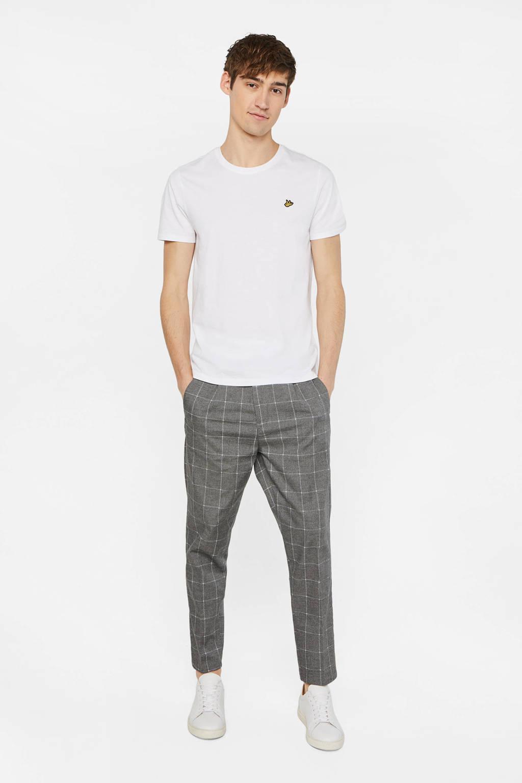 WE Fashion geruite slim fit pantalon grijs, Grijs