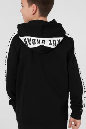 vest met contrastbies zwart/wit