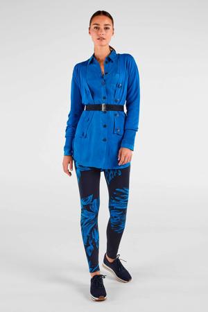 slim fit broek met all over print donkerblauw