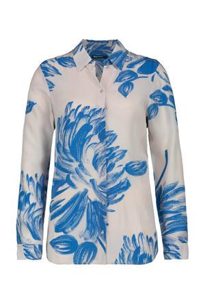 blouse met all over print lichtgrijs/blauw