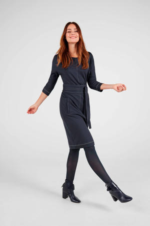jersey jurk met ceintuur donkerblauw