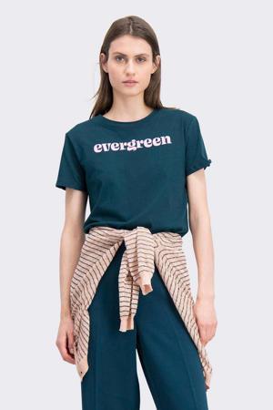 T-shirt met tekst groen/roze
