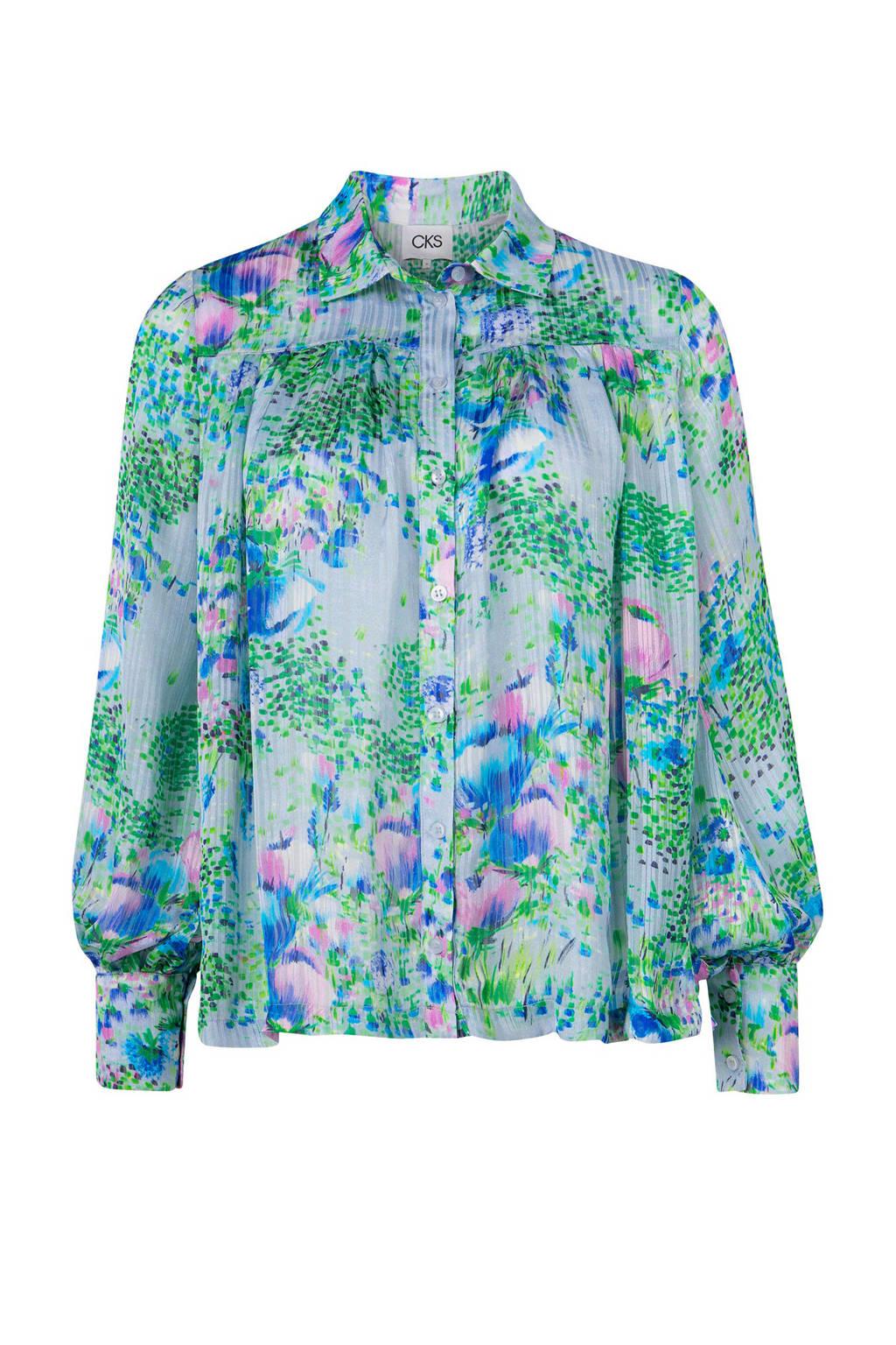 CKS gebloemde blouse lichtblauw, Lichtblauw