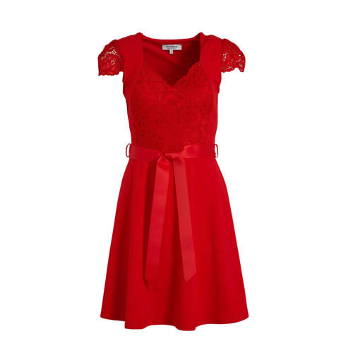 Morgan A-lijn jurk met kant rood