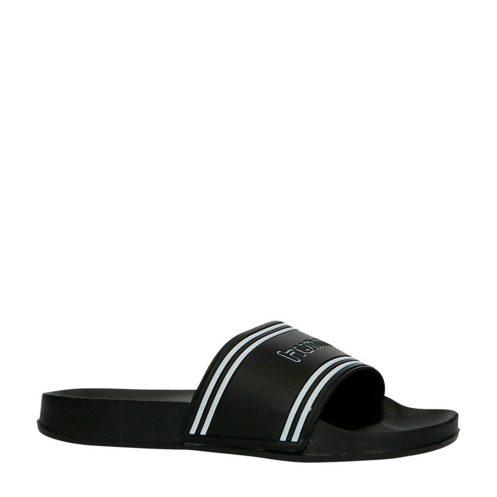 hummel Pool Slide Retro  badslippers zwart/wit, Zwart/wit
