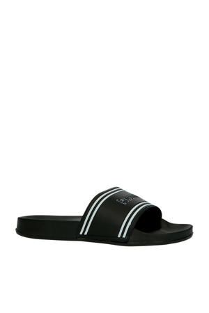 Pool Slide Retro  badslippers zwart/wit