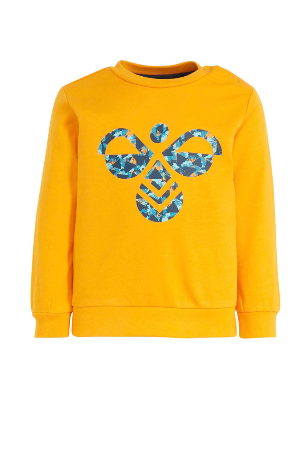 hummel sweater geel/blauw, Geel/blauw