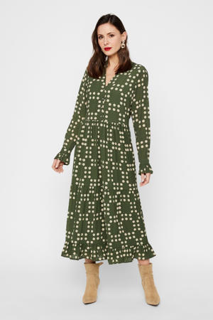 maxi jurk met stippen en ruches donkergroen/ecru