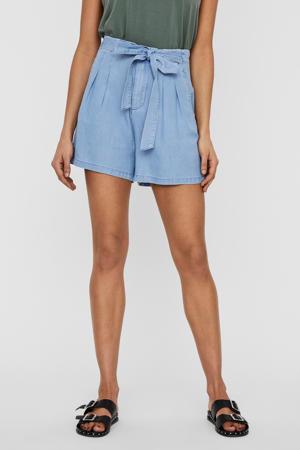 high waist loose fit short blauw